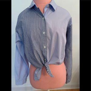 Mixed pattern long sleeve shirt